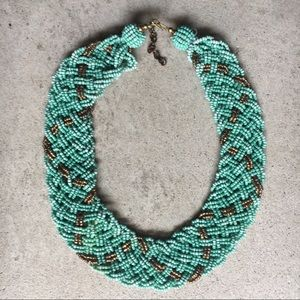 Beaded Turquoise and Gold Necklace